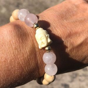 Rose Quartz/Wood and Buddha  w/ 14k g/filled beads